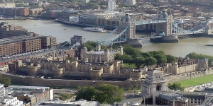 An aerial view of the Tower of London as seen from the SwissRe Tower.
